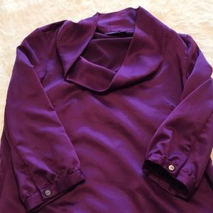 Purple silk cowl neck blouse.